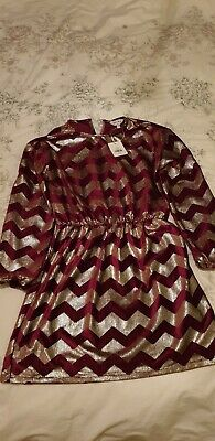 Girls Outfit Gold And Burgundy Dress Size 11 Years
