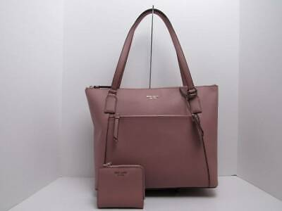 Kate Spade Cameron Saffiano Leather Pocket Tote Dusty Peony W/Bifold Wallet/New