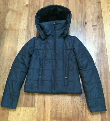 Sugarfly Girl's Black Puffy Zip Jacket with Removable Hood XS