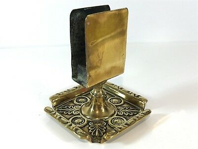Brass Ashtray Dish with Match Box Holder Centerpiece Smoking Collectable (T23)