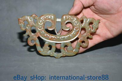 "6.6"" Old China Hetian Qinghai Jade Carving Dynasty Palace Double Dragon Yu Bi"