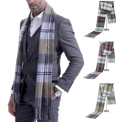 Mens Classic Scarf Fringe Striped Long Scarves Shawl Winter Warm Wrap Casual New