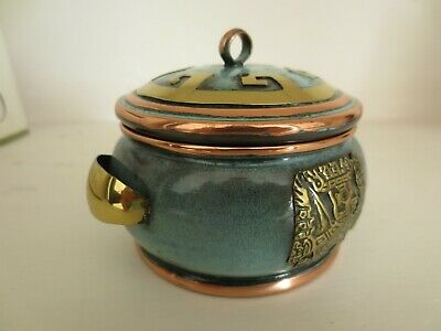 Peruvian Copper & Bronze Round Lidded Box Decorative Andes Tumi Condor Lord Blue