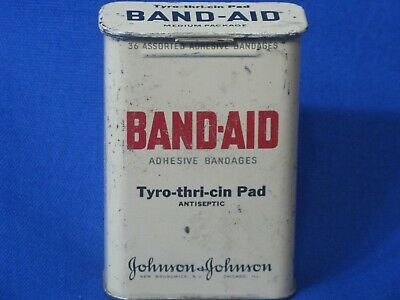 Band Aid Tin Metal Box Adhesive Bandages Johnson & Johnson Vintage