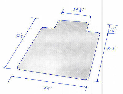 """New PVC Chair Mat 45"""" x 53"""" with Lip for Carpet 2.5mm thick- Local Pick Up only"""