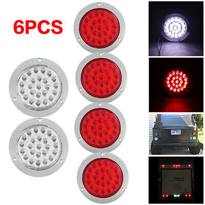 "4"" 24 LED Reverse Lights Round Stop Turn Tail Backup Truck Lamps 4x Red+2x White"