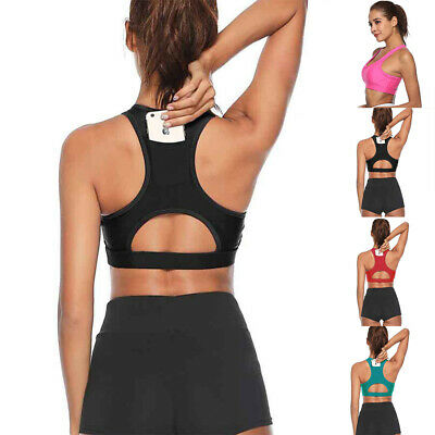 Women Vest Yoga Workout Sports Top Halter Bra Stretch Underwear Fitness Pocket