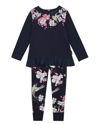 Baker by Ted Baker - Girls' Navy Floral Print Pyjama Set BNWT 4-5