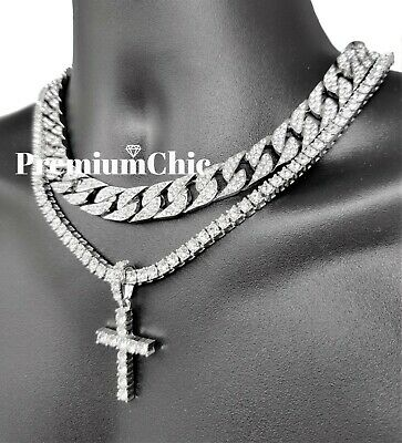 Mens Cross Pendant Tennis Necklace + Miami Cuban Choker SET Gold /Silver Plated