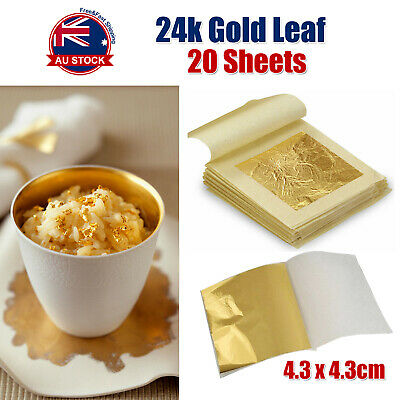 20x Pure 24K Edible Gold Leaf Sheets For Cooking Framing Art Craft Decorating C