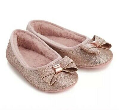 Ted Baker Girls Pink Sparkly Slippers Size Kids 10-11 BNWT