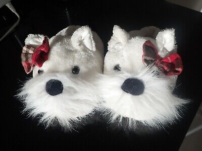 Girls size 10 White Scottie dog slippers by Next very good condition.