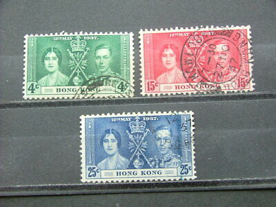 Hong Kong KGVI 1937 Coronation Issue SG137-139 FU