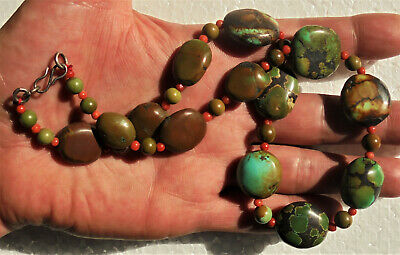 Old Tibetan turquoise nugget and red coral beads necklace