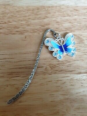 Novelty Silver Coloured Bookmark Gift ? - Large Blue Butterfly