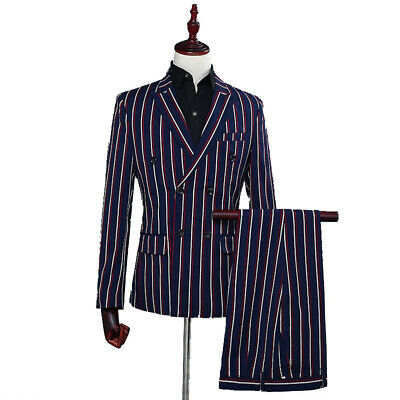 Mens Double breasted Long sleeve Slim fit Striped 2 Piece suits Lapel Formal New