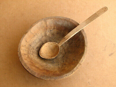 Old Antique Primitive Wooden Wood Plate Meal Bowl Dish Cup Rustic Early 20th