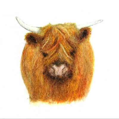 Highland Cow Painting with Wool Pack by The Makerss