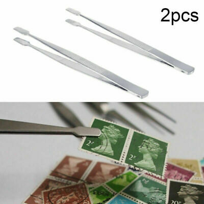 2pcs 4.5 inch Silver Stamp Tweezers Tongs 114mm Philately Stamps Collector Tool