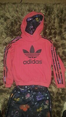 Girls Addidas Tracksuit Age 7-8 Pink and Purple flower patterns.