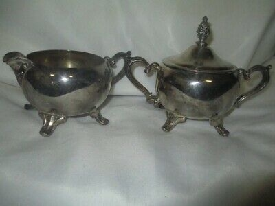 VINTAGE International Silver Company Footed CREAMER and SUGAR BOWL Pineapple