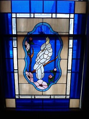 Vintage Leaded Stained Glass Window Cockatoo Bird Flowers Cobalt Blue 29x39""