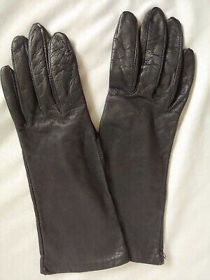 Deep Navy Blue Antron Lined Leather Gloves 6.5
