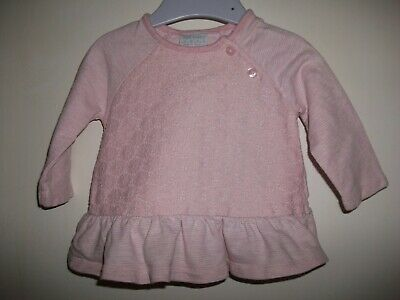 Baby Girls Pink Striped Long Sleeved Top with a Crochet Front - Age 0-3 Months