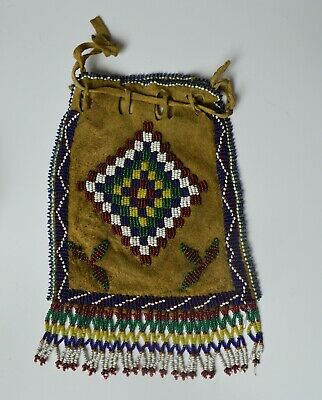Fine old native American Indian Apache  beaded bag