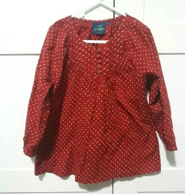 Mini Boden Size 7-8 Red Polka Dot Top Spotted Long Sleeved Summer Holiday