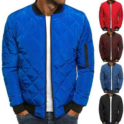 Mens Padded Quilted Puffer Bomber Jacket Zipper Coat Outwear Winter TopsCasualEB