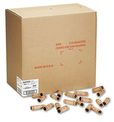 1000 Quarter Coin Wrappers Rolls Preformed Tubular Shotgun Tubes 25 Cent $10
