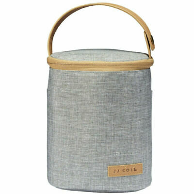 JJ Cole Collections 2-Bottle Cooler Bag Insulated - Gray Heather with Tan PU