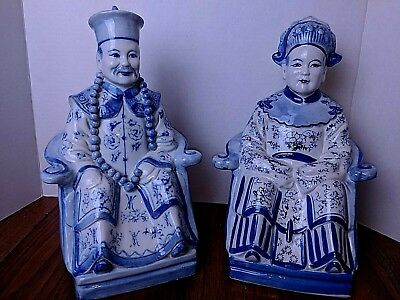 Vintage Blue/White Chinese Seated Noble Porcelain Figurines