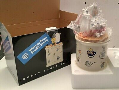 1998 Warner Bros Studio Store LOONEY TUNES CANISTER COOKIE JAR TWEETY & BUGS TOP