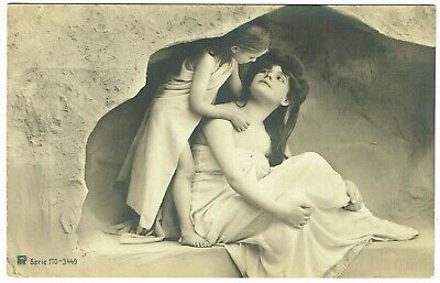 ANTIQUE B&W / SEPIA-tone FRENCH POSTCARD 'SISTERS' dated 1907