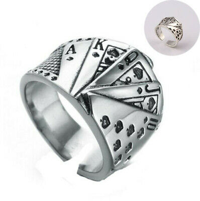 Men's Stainless Steel Casino Poker Card Game Lucky Open Ring Ace of Spade Square
