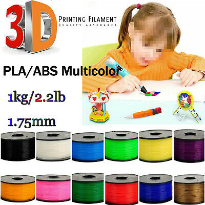 3D Printer Filament 1.75mm ABS/PLA 1KG/Roll Colours Engineer Drawing Free P&P