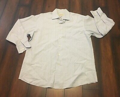 Tommy Bahama Mens Blue Cream Striped Long Sleeve Button Down Shirt LG 16.5 32-33