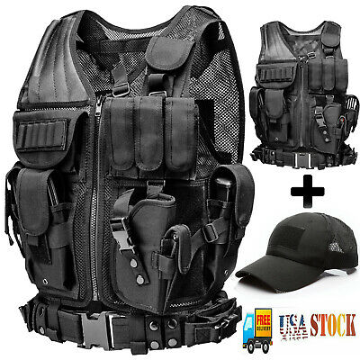 Military Tactical Vest Molle Gear Police Assault Combat Plate with Hat Cap Black