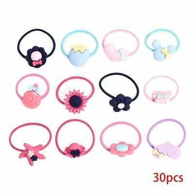 30Pcs Girls Candy Color Hair Band Ties Rope Ring Elastic Ponytail Hairband
