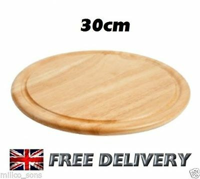ROUND WOODEN KITCHEN CHOPPING FOOD VEG BREAD BOARD MEAT FRUIT CHEESE 30cm