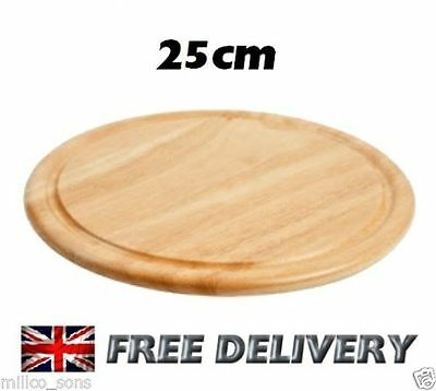 NEW 25cm ROUND WOODEN KITCHEN CHOPPING  FOOD VEG BREAD BOARD MEAT FRUIT CHEESE