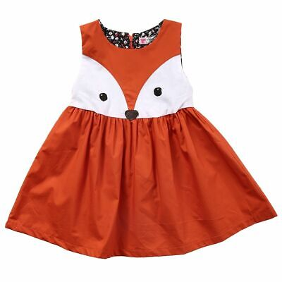 Casual Baby Girls Toddler Kids Cute Fox Dress Sleeveless Formal Party Wedding