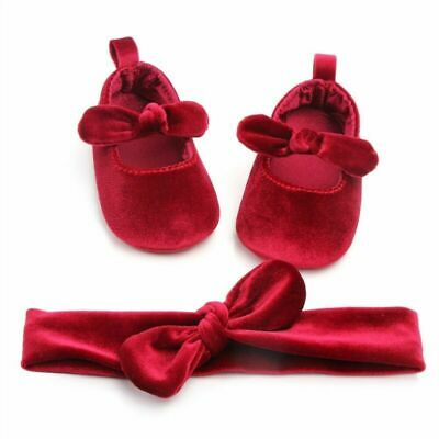 Velvet Baby Girls Shoes Toddler Kid Sweet Solid Walking Bow Ribbon First Walkers