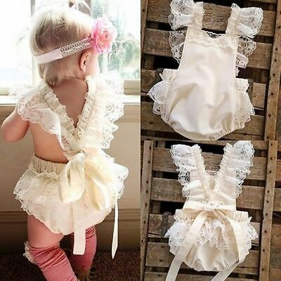 Kids Baby Girls Clothes Lace Ruffle Romper Jumpsuit Sunsuit Outfits