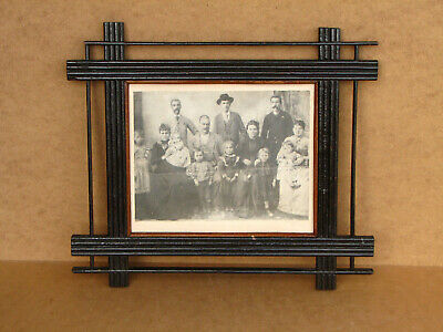 Old Antique Primitive Wooden Wood Photo Frame Hand Made Rustic Early 20th