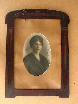 Old Antique Primitive Wooden Wood Photo Frame Picture Big Rustic Early 1940's