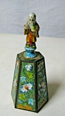 Chinese Figural Enamel Bell w Immortal Figure Handle