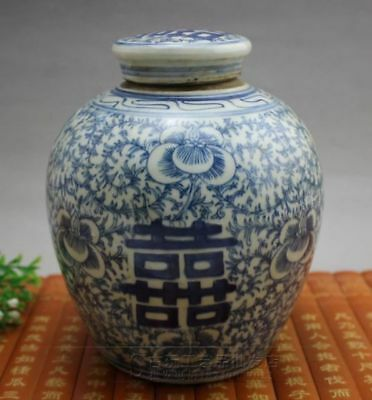 Delicate china Blue and white porcelain Hand painting Double happiness Sub Tank